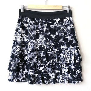 Carole Little Tiered Black Watercolor Mini Skirt